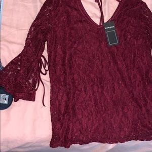 Ava and Grace dark red lace shirt